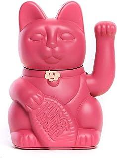 Gato de la Suerte chino. Lucky Cat. Maneki Neko. COLOR ROJO VIOLETA 12x9x18cm