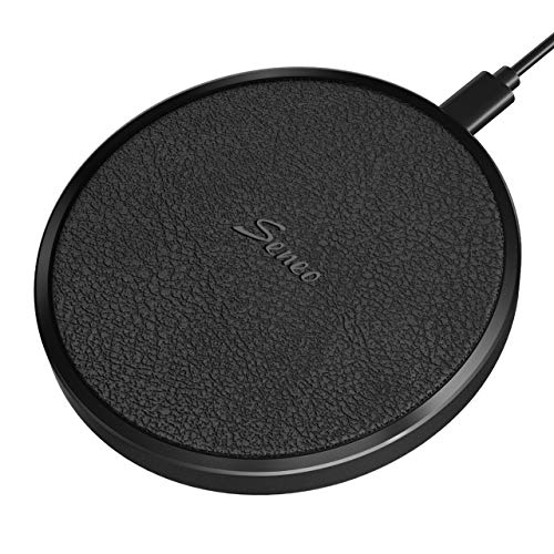Seneo Wireless Charger, Qi Wireless Charging Pad, Aluminum Alloy Leather Charging Pad, 7.5W Fast Charger for iPhone 11 Pro Max/SE 2/Xs/XR/X/8/8+, 10W for Galaxy S20/S10/S9/S8, Note10/9/8, AirPods Pro