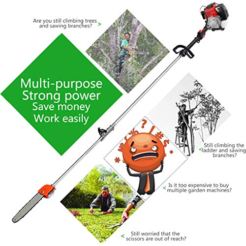 Alelife Grass Machine Suit 5 in 1 52cc Petrol Hedge Trimmer Chainsaw Brush Cutter Pole Saw Outdoor Tools