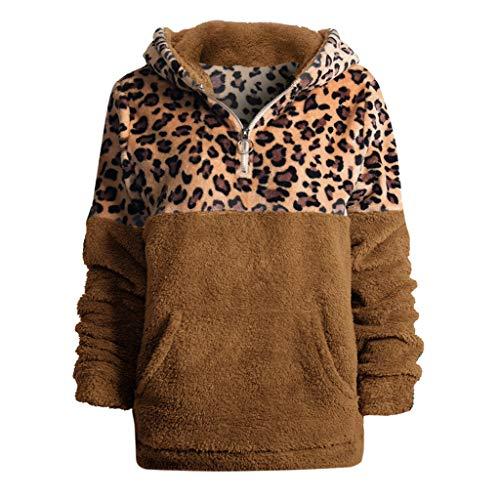 KPILP Damen Kapuzenpullover Langarm Mode Große Größe Winter Warme Plüsch Jacke Mantel Fleecejacke Streetwear Stehkragen Reißverschluss Leopard Patchwork