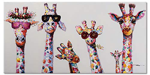 IXMAH Giraffe gifts wall decorations Home Painting Prints and Poster Giraffes Pop Wall Art Home Decoration 24 X 48 inches Unframed Colorful (60X120CM)