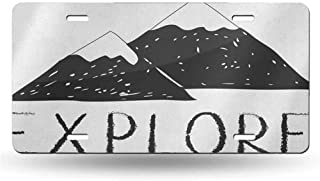 dsdsgog Protective License Adventure,Explore Lettering with Wild Forest Hand Drawn Simple Mountains Nature Theme, Black White 12x6 inches,Aluminum Novelty License Plate