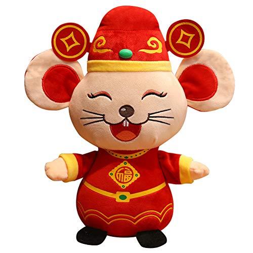 tWUJl4SXJ Peluche Fortune Rat 2020 Ratto Anno Mascotte Peluche Bambola Regalo per Bambini Decorazione per Feste Ratto di Denaro 15 Centimetri