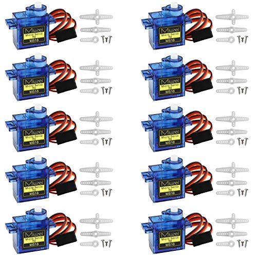 Miuzei 10 pcs SG90 Servo Motor, Micro Servo 9G SG90 Kit for RC Robot...
