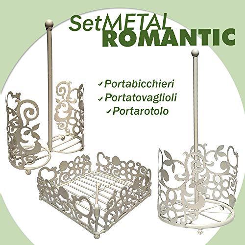 BuyStar Set Metal Romantic, 3 Pezzi, Portabicchieri, Portatovaglioli, Portarotolo, Set in Metallo