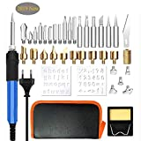 37pcs Kit Pirograbador de Madera, kit de soldadura WesKimed 60W, Temperatura Regulable(250-400℃),...