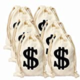 6pack 6.3 x 9 Inches Money Bags Canvas Money Bag Dollar Sign Carrying Sack for Toy Party Favor, Bank Robber Pirate Cowboy Cosplay Theme Party