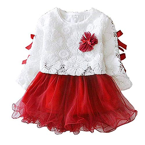 Baby Mädchen Spitzenrock Langarm süßer Bogen Prinzessin Kleid Frühling und Herbst für Kindergarten Zuhause Hochzeit Zeremonie Geburtstag und Täglichen Gebrauch(Red, 70cm)