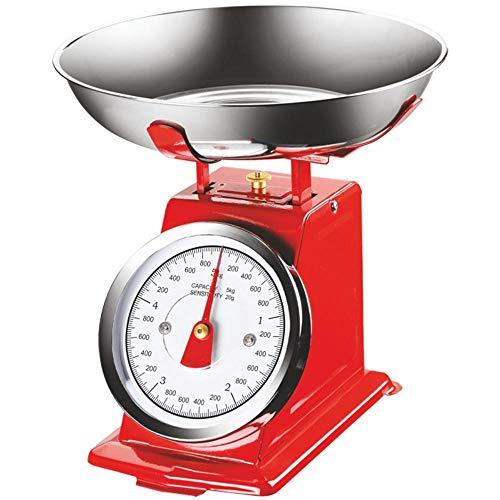 Bakaji Bilancia Meccanica Analogica da Cucina Atlas in Metallo con Ciotola Cromata Design Vintage Capacità Massima 5Kg Accessori Per Cucinare (Rosso)