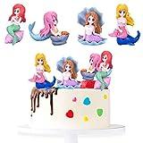 SUNSK Decoración para tartas de Sirena Adorno para tarta de Cumpleaño Topper Tarta Infantil Cake Topper Niña Pastel Topper Sirena fiesta Cumpleaños 4 Piezas