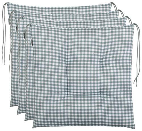 Brandsseller Sitzkissen Stuhlkissen kariert Kissen Sitzpolster Garten Auflage - 4er Vorteilspaket - 40 x 40 cm - Grau