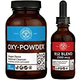Global Healing Oxy-Powder & B12 Blend Kit - Natural, Oxygen Based Colon Cleanser of Intestinal Tract & Organic Sublingual B12 Vitamin Supplement Drops for Energy, Mood, Heart - 120 Capsules & 2 Fl Oz