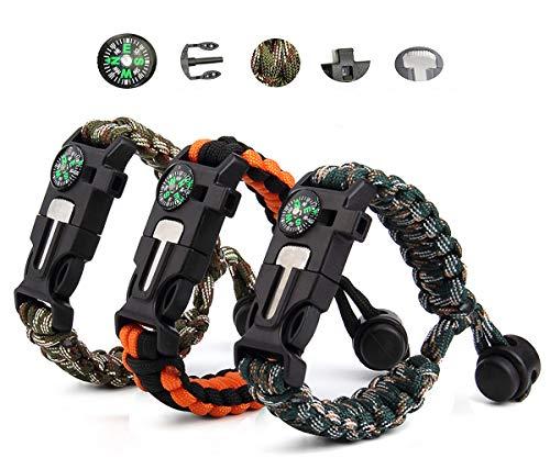 Vdealen Paracord-Survival-Armband, Survival-Kit mit Feuerstein, Kompass, Pfeife und Fallschirmseil-Schnalle für Wandern, Camping, Bootfahren, Notfälle oder andere Outdoor-Aktivitäten (3er-Pack)