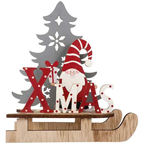 BESPORTBLE Weihnachten Holz Schriftzug Weihnachtsmann Figur Xmas Deko Aufsteller Objekt Mini Weihnachtsbaum Schlitten 3D Holzpuzzle Weihnachten Tischdekoration Weihnachtsschmuck Geschenke