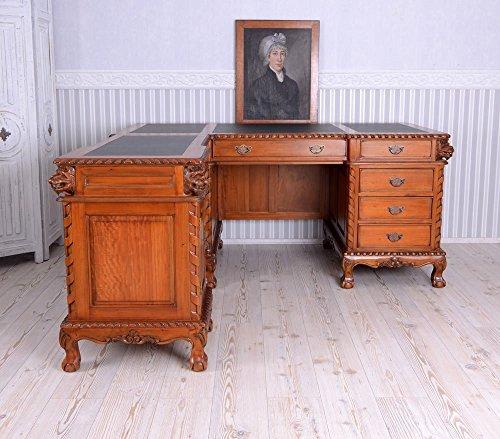 Englischer Schreibtisch XXL Eckschreibtisch Mahagoni Löwenköpfe mar085 Palazzo Exclusiv