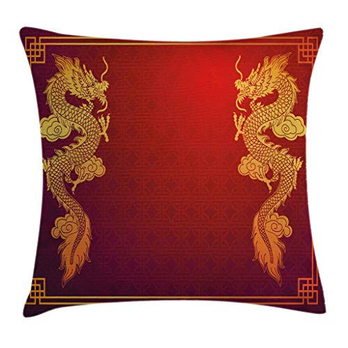 Bozh Dragon Throw Pillow Cushion Cover, Chinese Heritage Historical Eastern Motif with Creature Design, Decorative Square Accent Pillow Case, Orange Yellow 16