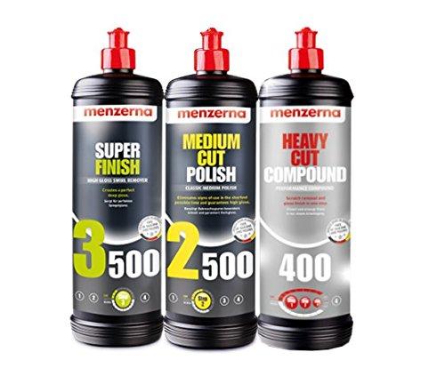 Menzerna Super 3500, Medium 2500, and Heavy 400 Polishing Compound Kit