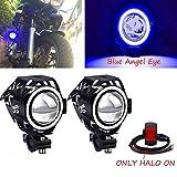 Biqing 2Pcs Faros Adicionales Moto,CREE U7 Azul Faros Delanteros Moto Faros Auxiliares Antiniebla Focos LED Impermeable con Interruptor para Motocicletas Bicicletas Coches Camion