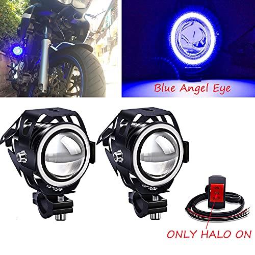 Biqing 2Pcs Phares Avant de Moto,U7 Phares supplémentaires pour moto 12V/24V Feux Antibrouillard LED 6000K avec interrupteur pour Quad Scooter Moto (Bleu)