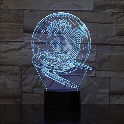 Lámpara de ilusión 3D Led Night Light Star Wars Millennium Falcon Earth Boy para decoración de dormitorio Bulbing Juguetes para niños Disfraz de regalo para niños