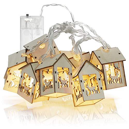 com-four Catena Luminosa a LED con 10 Case Invernali in Legno - lampade a LED Bianco Caldo - Illuminazione Decorativa a LED a Batteria per Natale