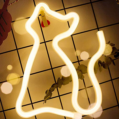 XIYUNTE Gato luces de neón Luz de noche, blanco neón Lámpara Señales luminosas Iluminación nocturna Iluminación interior, Iluminación de ambiente para el dormitorio infantil, bar, navideña
