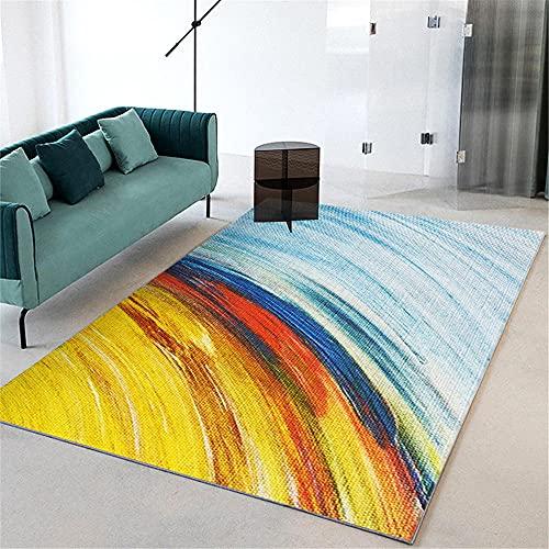 alfombras Grandes Baratas Alfombra Amarilla y Azul, Decoración de la casa Oficina de Asiento Almohadilla Suelo Cómodo Alfombra Bases Antideslizantes para alfombras -Azul_200x230cm