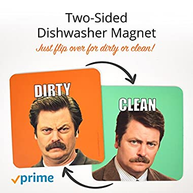 Ron Swanson Parks and Recreation Magnet - Dishwasher Magnet Clean Dirty - Waterproof UV Coating - Made in the USA
