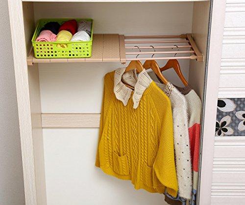 VANCORE Adjustable Storage Rack Separator Wardrobe Cupboard Shelf Coffee (Single Shelf)