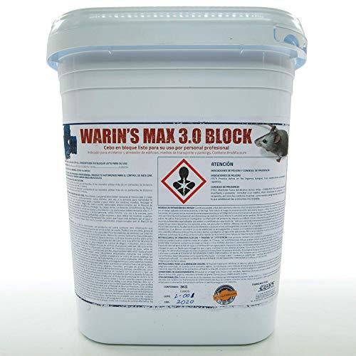 BIOTRENDS Warin´S MAX 3.0 Raticida en Bloque con Veneno Brodifacoum Altamente eficaz para Matar Ratas y Ratones - Cubo de 3 kg.