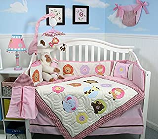 SOHO Pink Safari Jungle Nursery Bedding Set 14 pcs including Diaper Bag PLUS EXTRA PINK JUNGLE FLEECE BLANKET FOR LIMITED TIME ONLY.