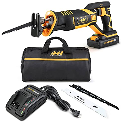 """MOTORHEAD 20V ULTRA Cordless Reciprocating Saw, Lithium-Ion, Tool-Free Blade Change & Guard, 1"""" Stroke, 0-3000 SPM, Variable Speed Trigger, 2Ah Battery, Quick Charger, Bag, 2 Blades, USA-Based"""