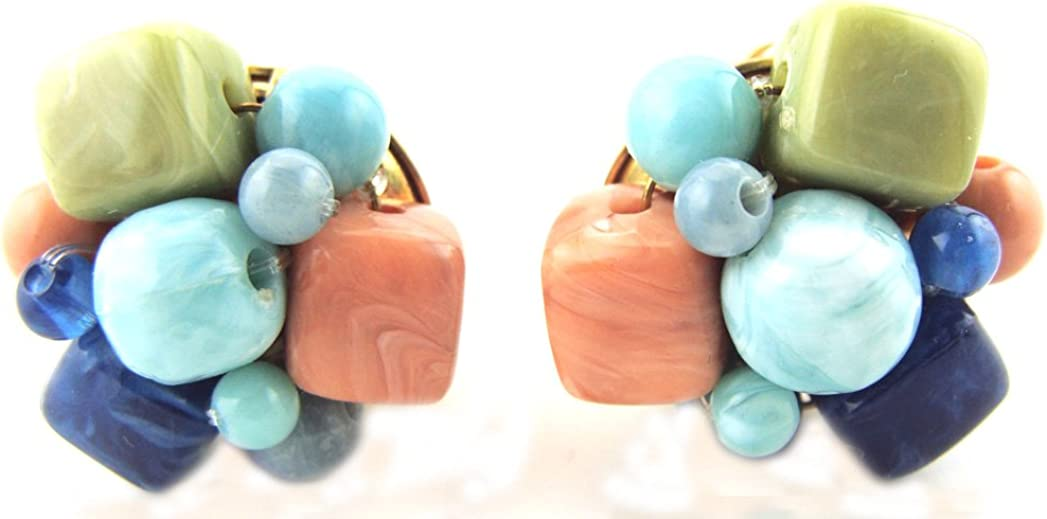 Vintage Faux Lapis Turquoise & Coral Knot Cluster Bead Clip on Earrings