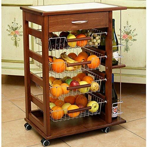 LIBEROSHOPPING.eu - LA TUA CASA IN UN CLICK Carrello da Cucina Porta Frutta con cassetto e portabottiglia (Noce)
