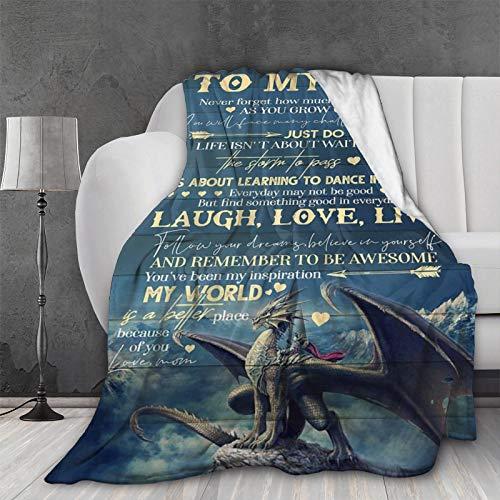 Ultra weiche leichte Überwurfdecke Dragon 2 to My Son I Love You Forever from Mom kuschelige flauschige Steppdecke für Bett, Couch, Sofa, Wohnzimmer, Picknick, 127.7 x 101.6 cm, klein für Kinder