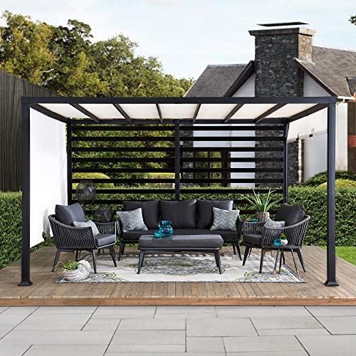 Sunjoy Maverick 10 ft. x 12 ft. Modern Steel Pergola with White Adjustable Shade