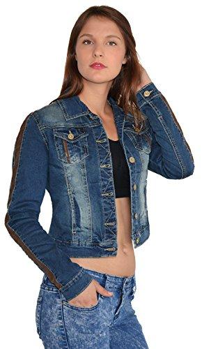 ESRA Damen Jeansjacke Damen Jeans Jacke mit Blumen Stickerei große Größen bis Übergrösse M03