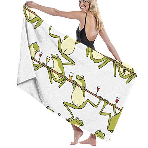 FSTGFFST - Telo da mare per donne e uomini, motivo: rane bere vino birra, asciugamano da bagno ad asciugatura rapida, multiuso, coperta da viaggio, misura grande, 78,7 x 129,5 cm