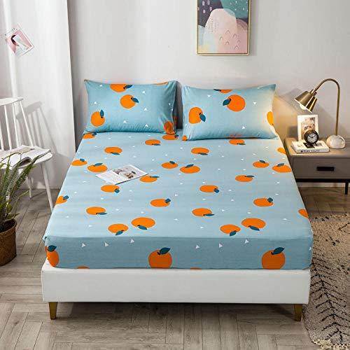 Cubre colchon 150x200+35 cm Naranjas Azules Sábana de Microfibra Impresa Protector colchón sabanas Cuna con Dos Fundas de Almohada 50x75 cm para Cama Individual, Cama Doble