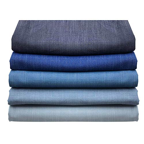 Tela de algodón elástico suave para manualidades, para hacer disfraces, costura, vestidos, vaqueros, cortinas, decoración de ropa (tamaño: 2 m, color: 2 azul claro)