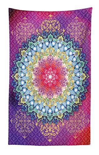 ABAKUHAUS Mandala Tapiz de Pared y Cubrecama Suave, Rosa y Púrpura Círculo Mágico Sueño Mundo Cuatro Elementos Paz Estampa, Colores Firmes y Durables, 140 x 230 cm, Mutlicolor