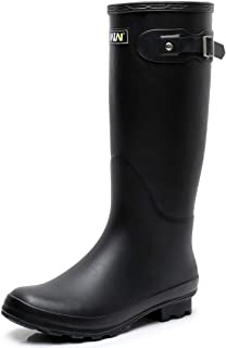 Women's Knee-high Wellington Rubber rain Boots, Ladies Adjustable Tall Wellies Snow Boots for Garden Work, Waterproof & Lightweight