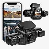 Rhorawill 3 Lens 1080P Dashcam Auto Vorne Hinten Dash Cam mit WiFi, Autokamera mit Super Nachtsicht, 330° Weitwinke, G-Sensor, WDR, Loop-Aufnahme, 24H Parküberwachungs, Auto Kamera Max Support 128GB