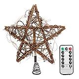 KALLORY 2Pcs Xmas Lighted Star Topper String Light Rattan Star Pentagram Tree Topper Vintage Intermitente Copas de Los Árboles para El Árbol de Navidad Mesa Chimenea Luz Blanca Cálida