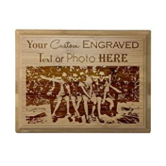 """To begin your order simply click """"Customize Now"""" and begin adding your text or upload your personal logo Plaque measures 4"""" X 6"""" Laser Engraving - Bold and stands out against the material! - SINCE EACH PLAQUE HAS DIFFERENT WOOD GRAIN EACH ENGRAVING W..."""