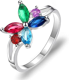 HYLJZ Anello Female Multicolor Zircon Flower Ring for Women Wedding Engagement Ring Fashion Vintage Jewelry Gift
