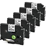 Oozmas Compatible Label Tape Replacement for Brother P-Touch TZe-231 TZ 231 12mm 0.47 Inch Laminated Black on White Cartridge Compatible with Brother Label Maker Refills PT-D210 PT-H100, 5-Pack