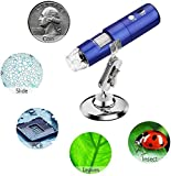 HGFLYF Microscope numérique Bleu sans Fil USB Microscope 2 MP 1080p HD 1000x Enfants étudiants 8...
