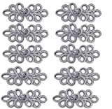 EvaGO 10 Pairs Chinese Knots Frog Buttons Closure Sewing Fasteners for Sweater Cloak Coats Scarf Cardigan and Costumes Outfit Sewing, Silver