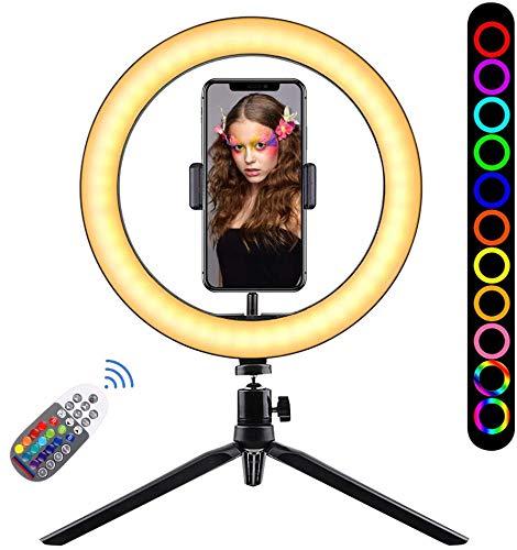"KONKY Luz de Anillo LED 10"" Fotográfica de Escritorio, 18 Colores y Brillos Regulables con Control Remoto, Trípode con 360° Soporte Giratorio de Teléfono para Selfie Maquillaje Youtube TIK Tok Live"